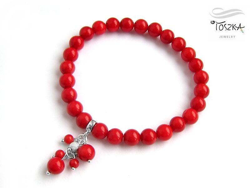20d3d3c185e397 Czerwona bransoletka z naturalnego korala / koralowca i srebra 925 z  zawieszką ...